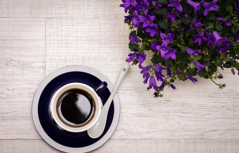 Photo wallpaper flowers, coffee, spoon, drink, flowers, drink, coffee, spoon