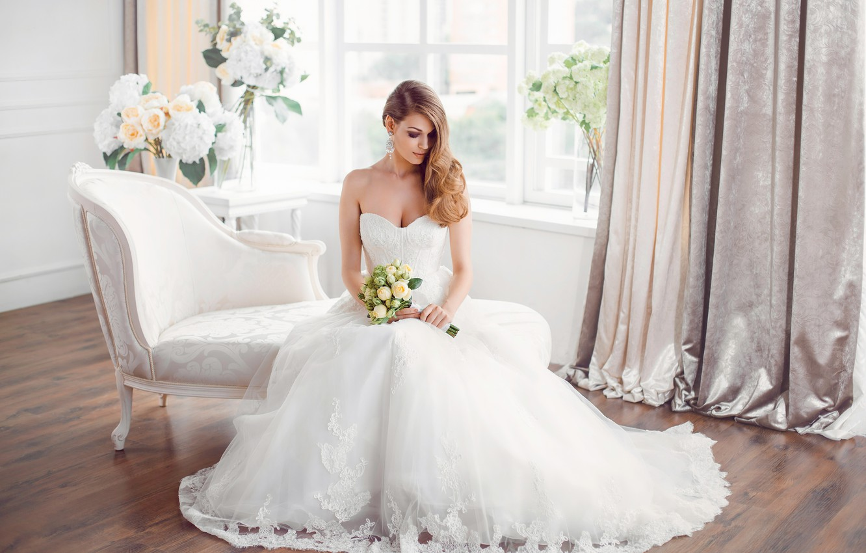 Photo wallpaper girl, flowers, holiday, bouquet, the bride, dress, style, wedding, decor, sofa, wedding, elegant, Buyanskyy Dmytro