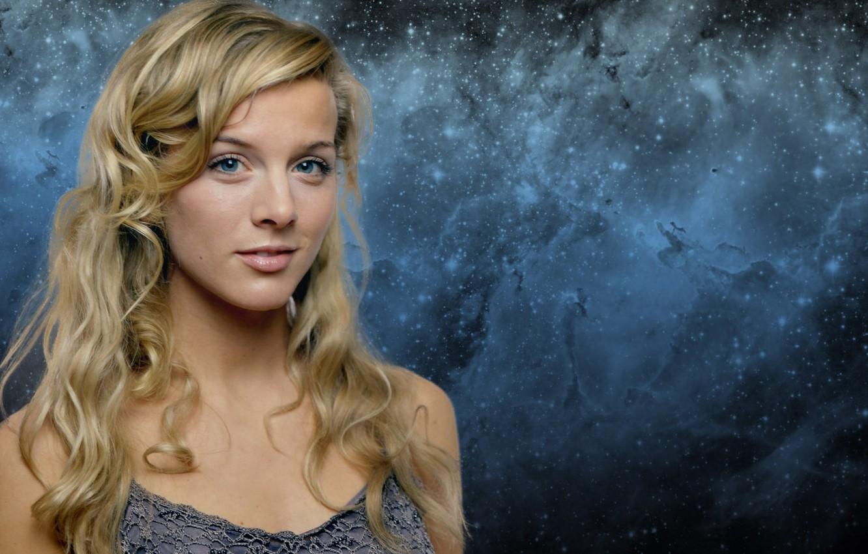 Photo wallpaper blonde, galaxy, blue eyes, Eva Habermann