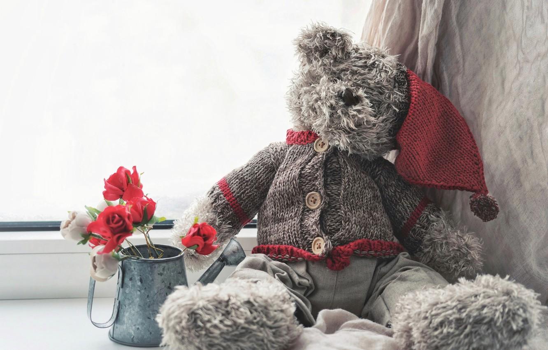 Photo wallpaper flowers, mood, toy, roses, bear, window, lake, bear, blouse, cap, Teddy bear