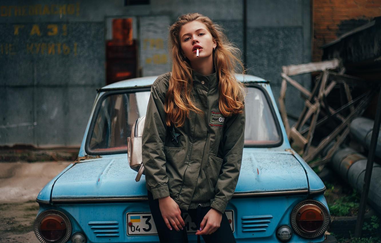 Photo wallpaper girl, sign, cigarette, Ukraine, Zaporozhets, Anastasia Luneva
