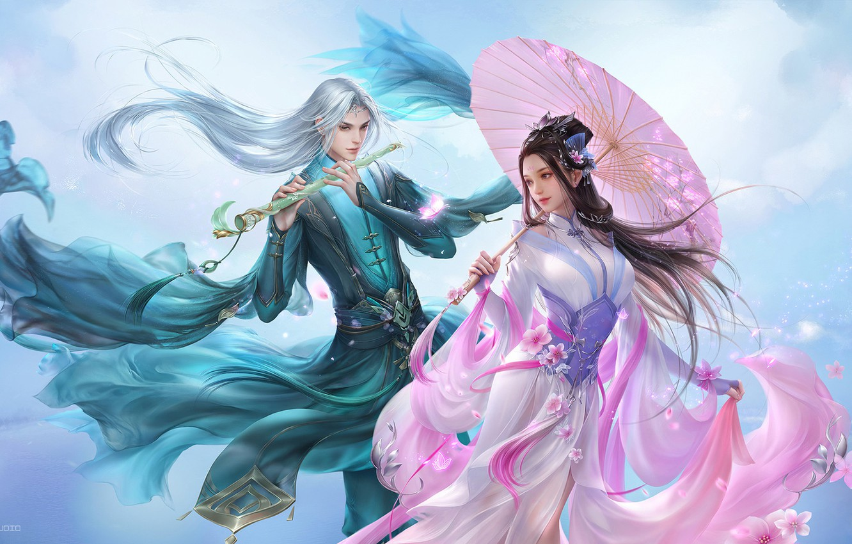 Photo wallpaper flowers, the game, spring, Sakura, fantasy, art, pair, bard, costume design, 3Q STUDIO, Han Palace …