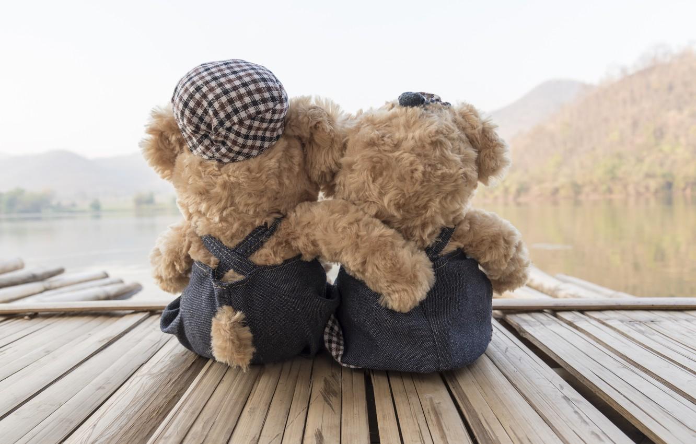 Photo wallpaper sea, beach, love, toy, bear, pair, love, two, beach, bear, sea, romantic, teddy