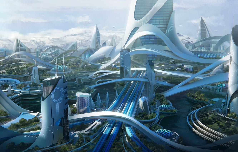 Photo wallpaper mountains, facilities, architecture, Kitbash 3D, Utopia set Cover
