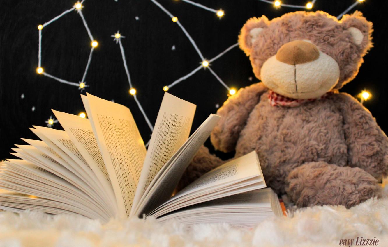 Photo wallpaper comfort, heat, toy, bear, book, plaid, constellation, bear, book, warm