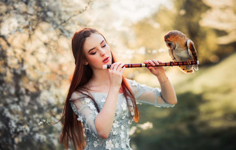 Photo wallpaper girl, mood, owl, bird, bokeh, by Olga Boyko, Alexander Gir