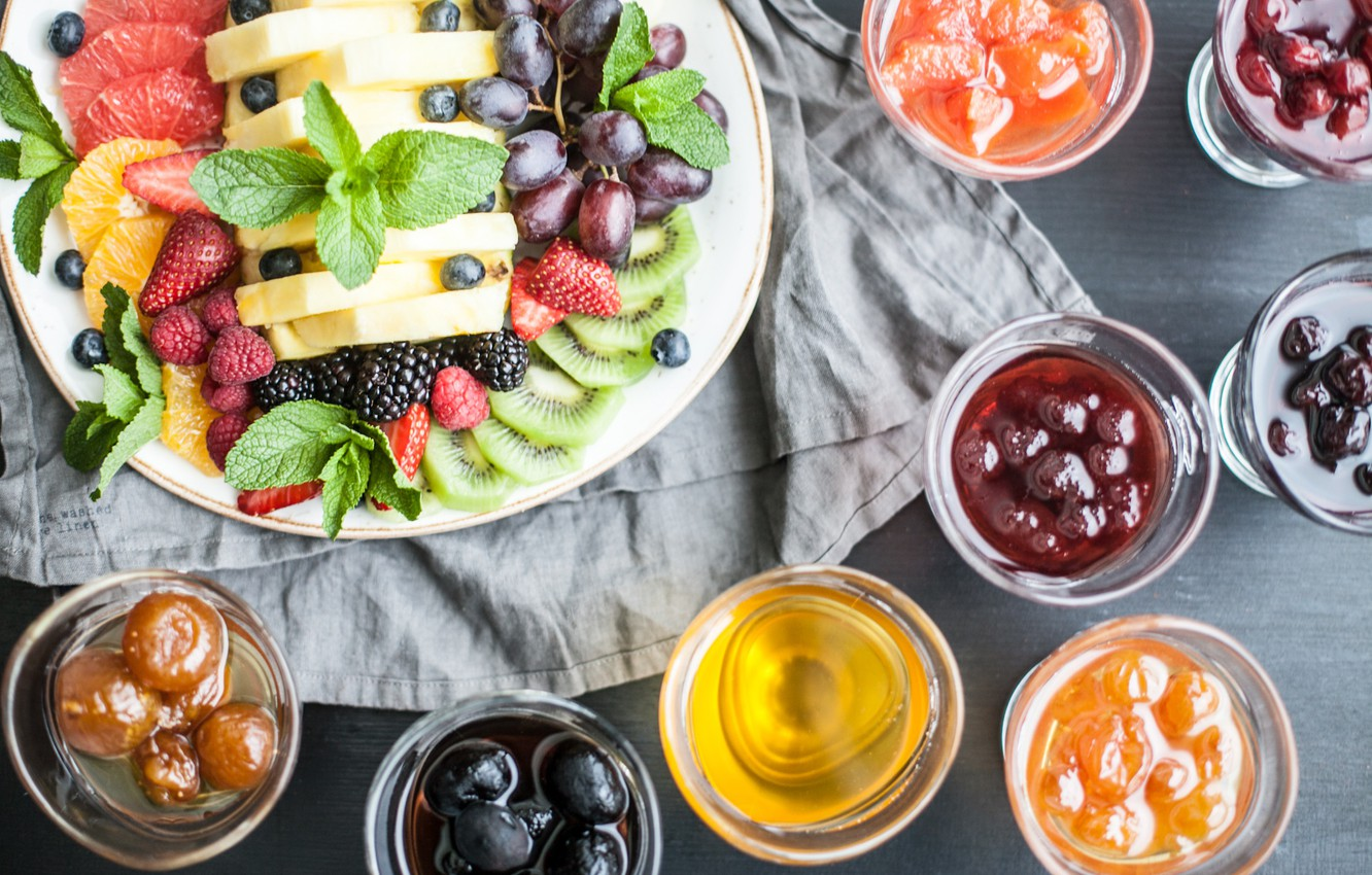 Photo wallpaper berries, fruit, mint, tablecloth, syrup