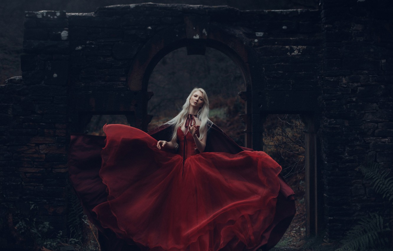 Photo wallpaper girl, the ruins, red dress, Princess, Maria Amanda, Bird Man, Snow White's Reign