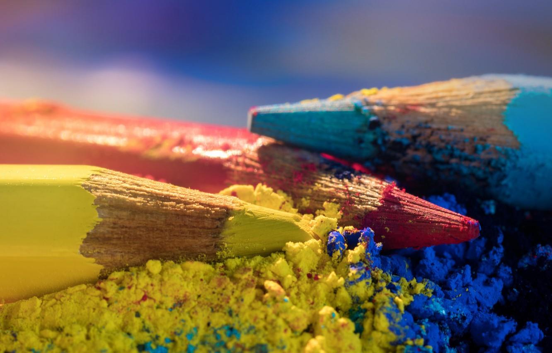 Photo wallpaper macro, pencils, colored pencils
