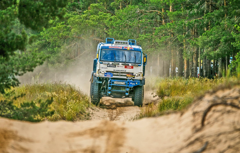Photo wallpaper Trees, Sport, Speed, Truck, Race, Master, Dirt, Russia, KAMAZ, KAMAZ, Best, Master, Redbull