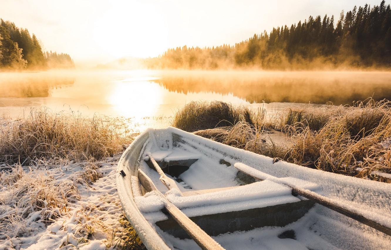 Photo wallpaper winter, frost, lake, boat, morning