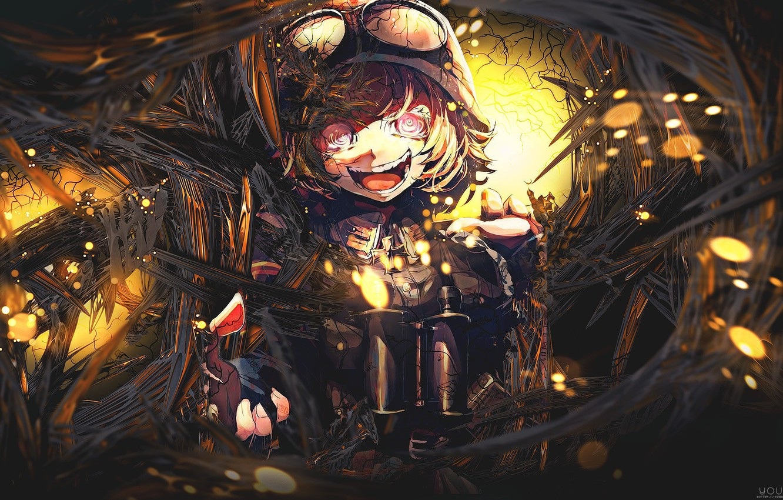 Photo wallpaper girl, soldier, military, war, anime, blonde, asian, manga, oriental, asiatic, powerful, strong, uniform, seifuku, 2017, …