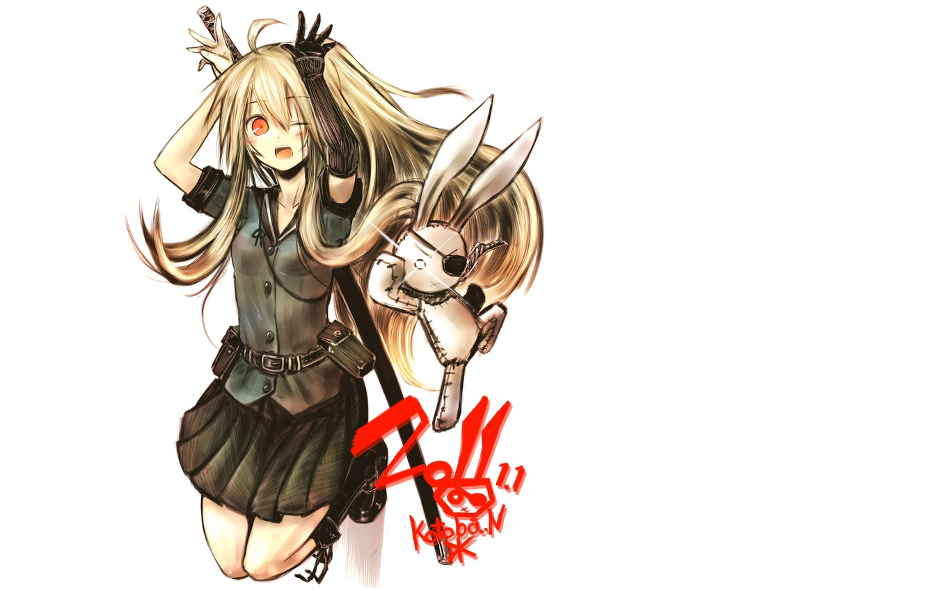 Photo wallpaper katana, rabbit, red eyes, baby, art, eye patch, bruise, Kotoba Noriaki
