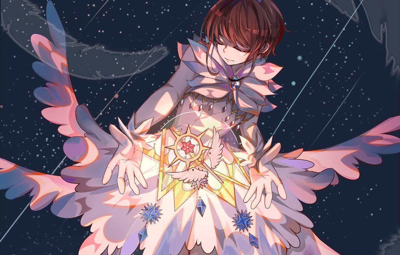Photo wallpaper space, wings, angel, feathers, girl, Card Captor Sakura, Sakura - collector cards