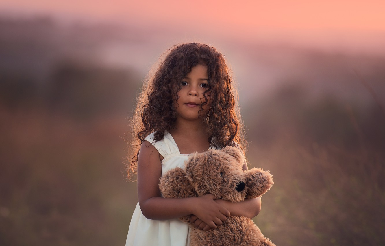 Photo wallpaper toy, girl, bear, Edie Layland, My Teddy