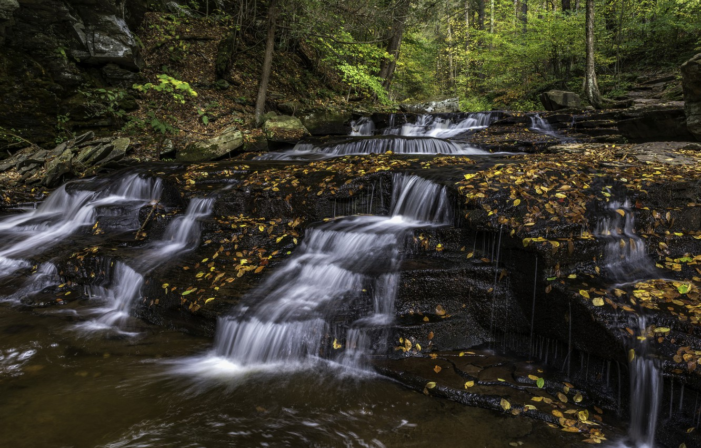 Photo wallpaper autumn, nature, waterfall