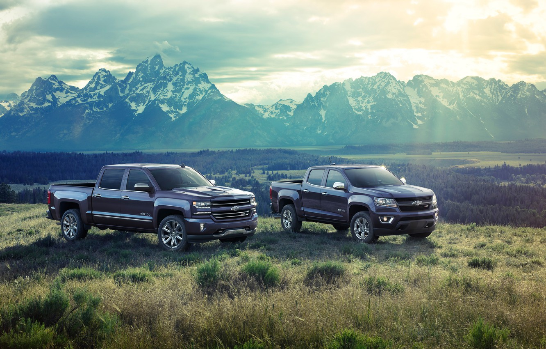 Photo wallpaper mountains, Chevrolet, pickup, 2018, Silverado