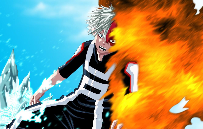 Photo wallpaper fire, flame, ice, anime, hero, manga, powerful, strong, uniform, yuusha, spark, seifuku, Boku no Hero …