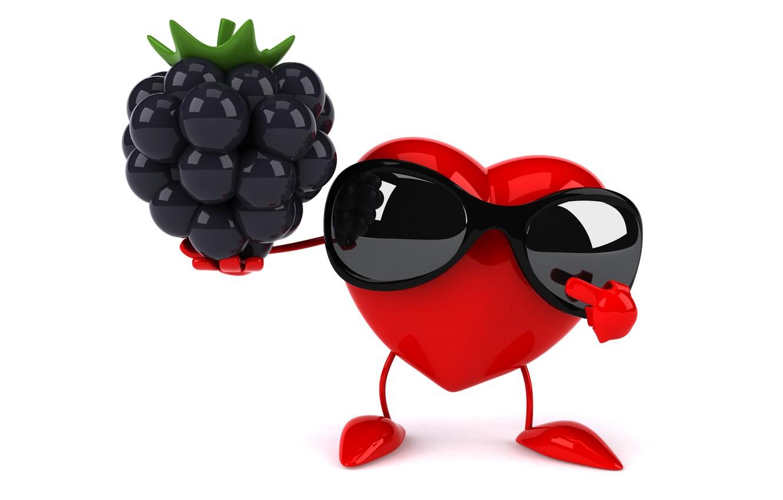 Photo wallpaper heart, heart, BlackBerry, funny, rendering, sunglasses, 3D Art
