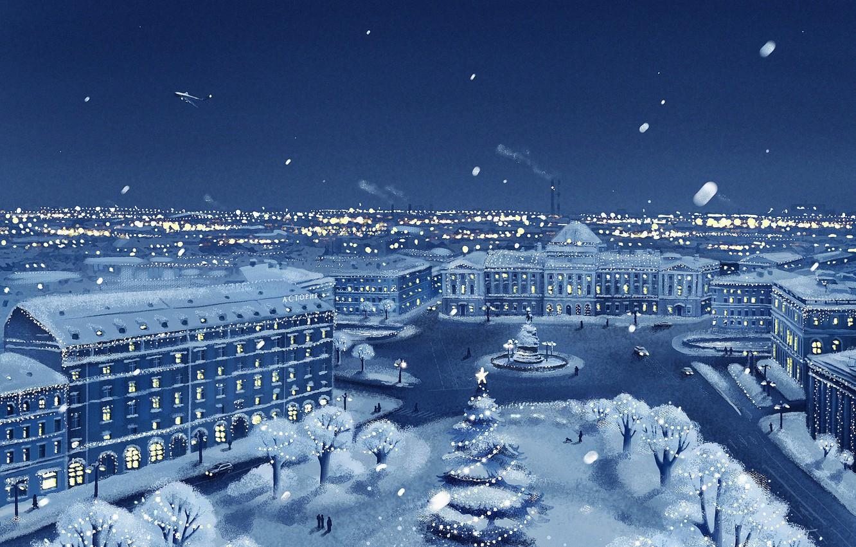 Photo wallpaper winter, snow, the city, the plane, view, new year, Christmas, christmas, new year, winter, Petersburg, …