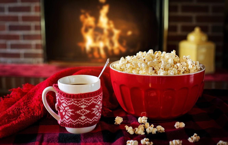 Photo wallpaper winter, heat, tea, Cup, fireplace, popcorn