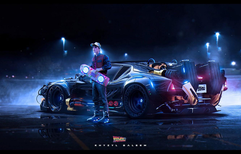 Photo wallpaper Future, Neon, DeLorean DMC-12, DeLorean, DMC-12, DMC, Electronic, Back to the Future, Marty McFly, Marty, …