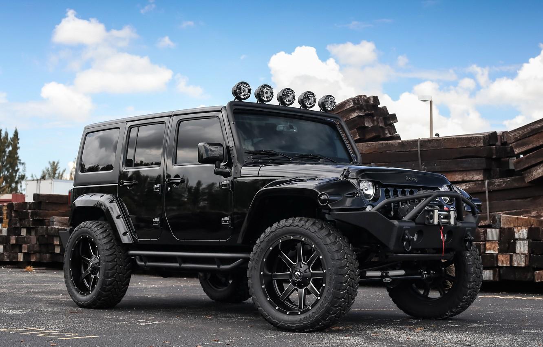 Photo wallpaper Black, Tuning, Wrangler, Jeep
