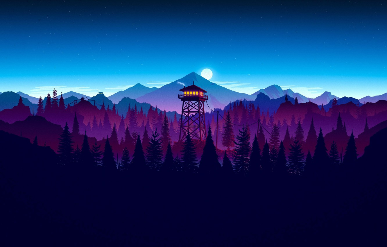 Photo wallpaper moon, game, forest, sky, night, cloud, kumo, Firewatch, sunset artwork
