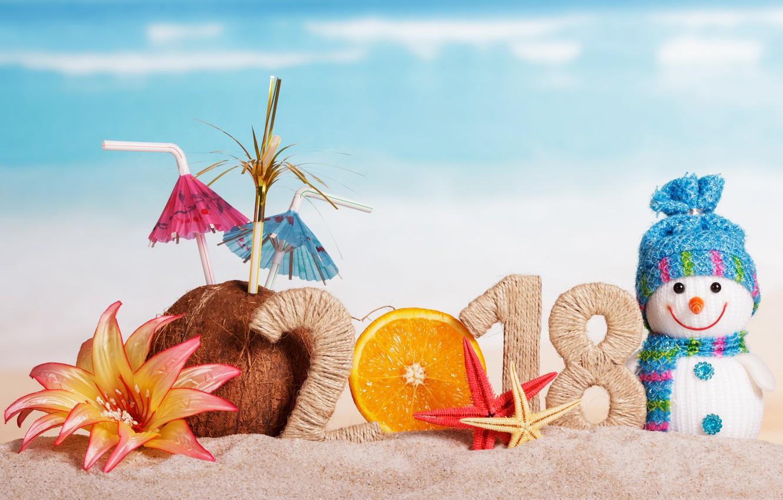 Photo wallpaper sand, beach, decoration, New Year, snowman, happy, beach, 2018, New Year, snowman, decoration, holiday celebration