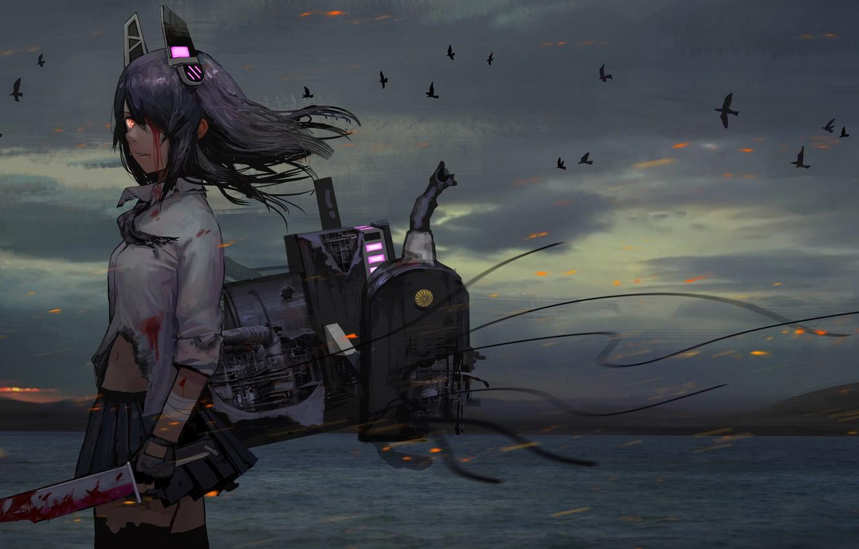 Photo wallpaper sea, girl, mountains, birds, nature, weapons, blood, anime, tenryuu, kantai collectio, tomiya7112