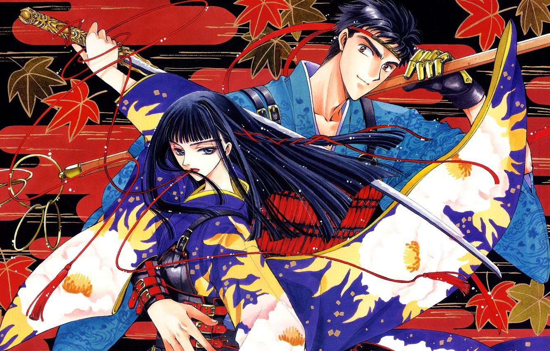 Photo wallpaper girl, sword, samurai, guy
