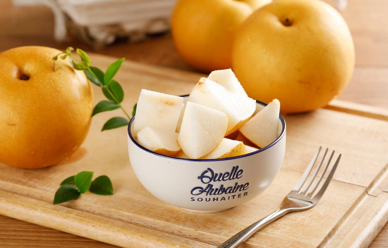 Photo wallpaper apples, pieces, bowl