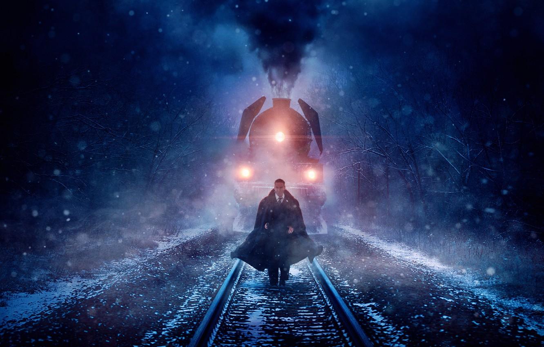 Photo wallpaper cinema, blizzard, smoke, snow, man, movie, train, film, suit, mustache, tie, Kenneth Branagh, Murder on …