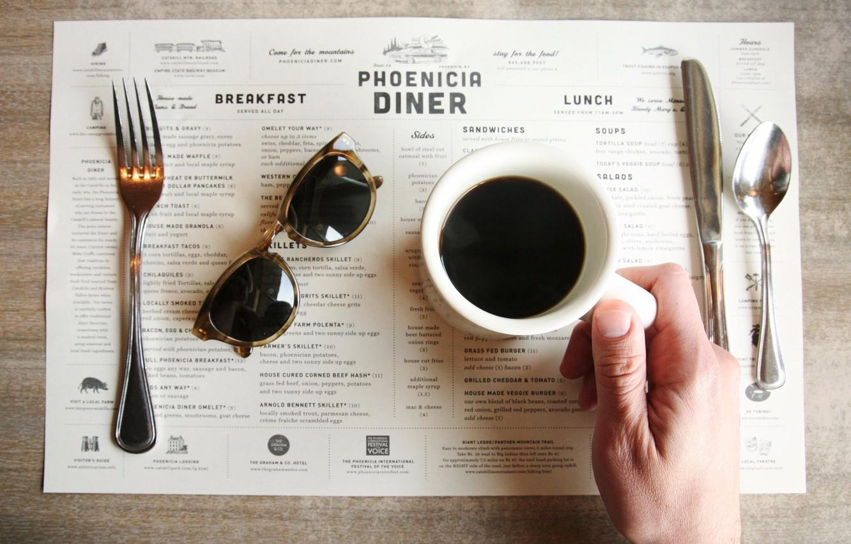 Photo wallpaper table, coffee, hand, glasses, spoon, knife, cafe, plug, menu, phoenicia diner