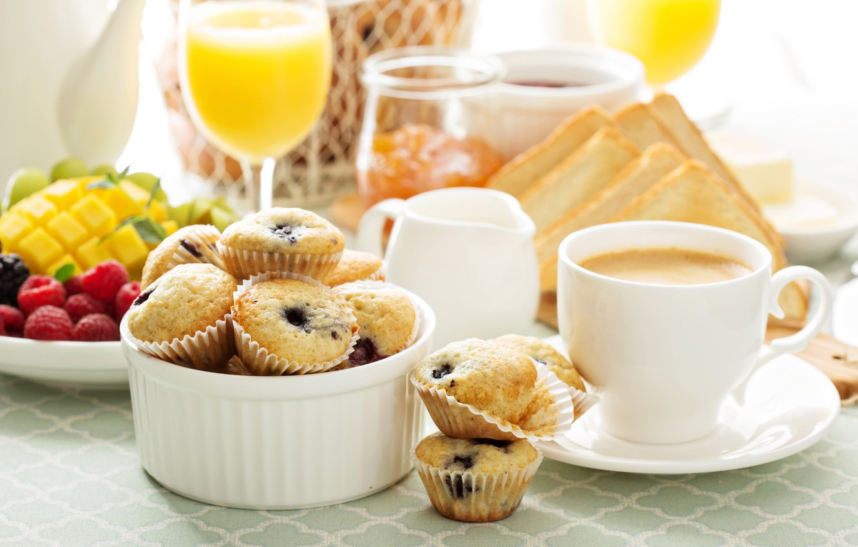 Photo wallpaper coffee, Breakfast, juice, Cup, fruit, jam, cupcakes, toast, cupcakes