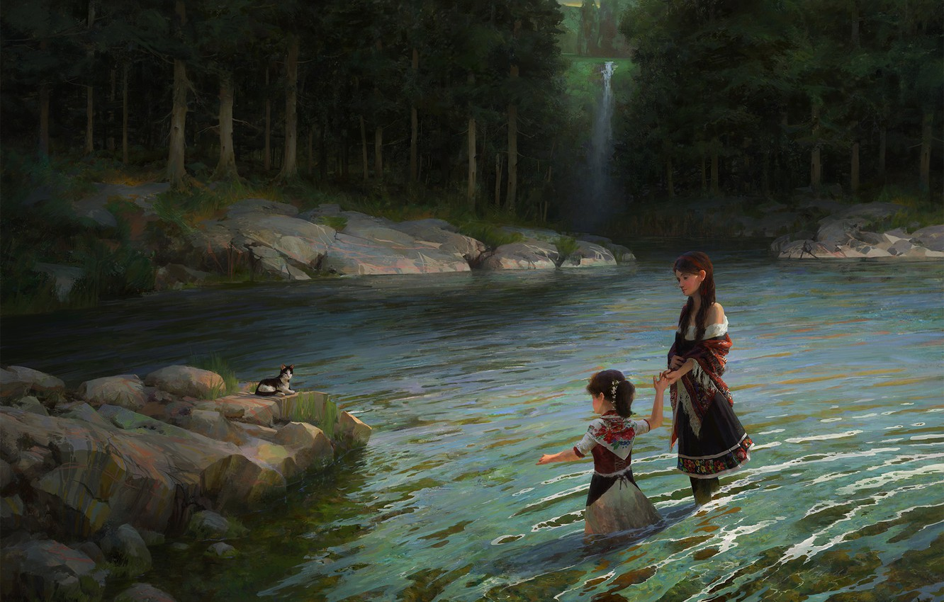 Photo wallpaper forest, children, river, the situation, art, kitty, Heritage, Caffe Tylo