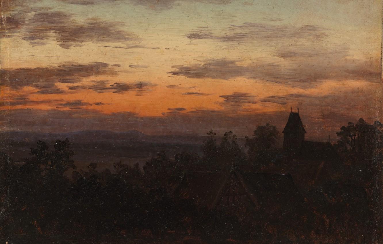 Photo wallpaper Landscape, Carl Gustav Carus, 1830, at sunset
