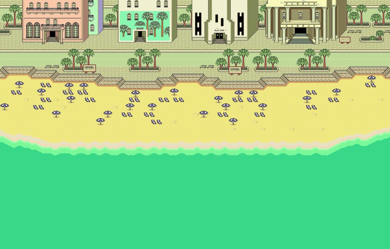 Photo wallpaper Sand, Sea, Beach, The city, Building, Art, Pixels
