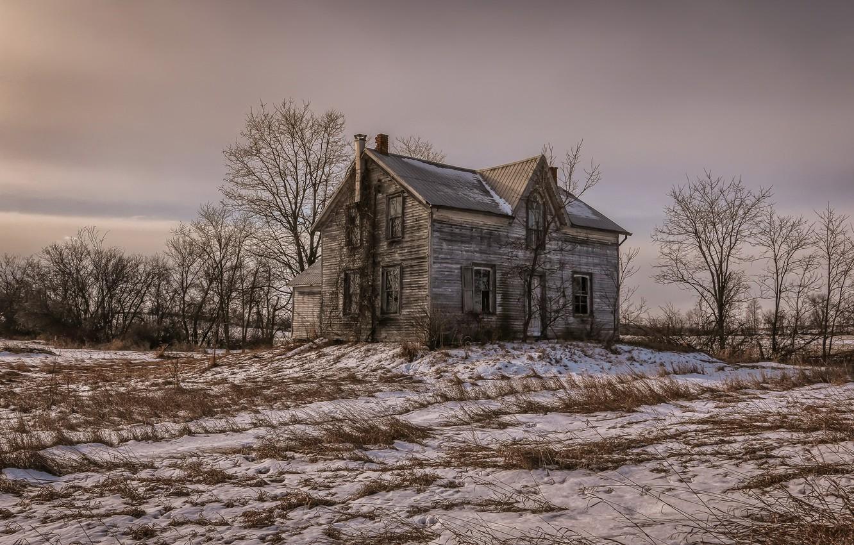 Photo wallpaper field, snow, house