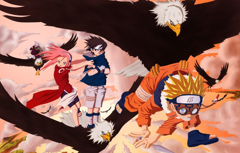Wallpaper Naruto Anime Eagle Ninja Team 7 Uchiha Sasuke