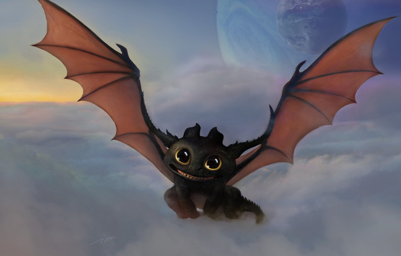 Photo wallpaper clouds, planet, art, dragon, Toothless, How to train your dragon, the night fury, fantasy, Wire …