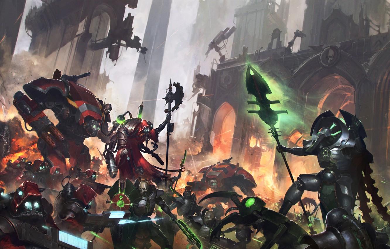Photo wallpaper necrons, Warhammer 40 000, lord necron, tech priest, forge world, Adeptus Mechanicus, Forgebane