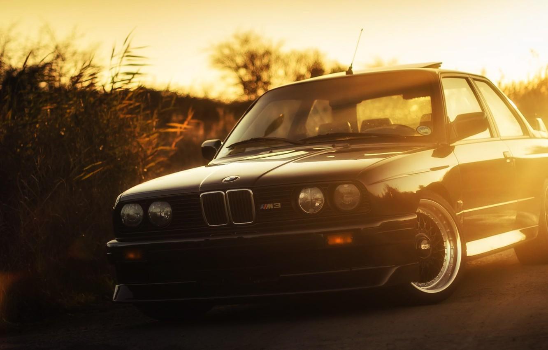 Photo wallpaper Sunset, Auto, Black, BMW, Machine, Boomer, BMW, Lights, E30, BMW M3, BMW E30, BMW E30 …