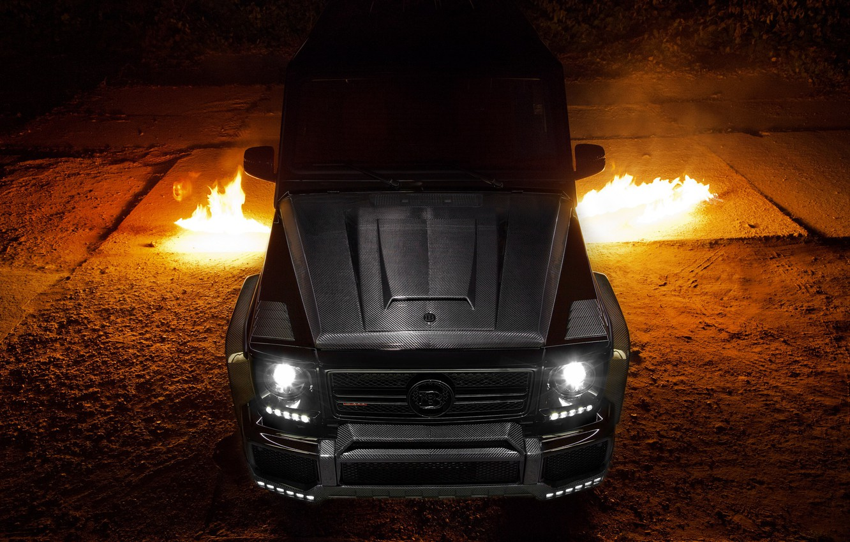 Photo wallpaper Mercedes, Carbon, AMG, Black, Exhaust, Flames, G65