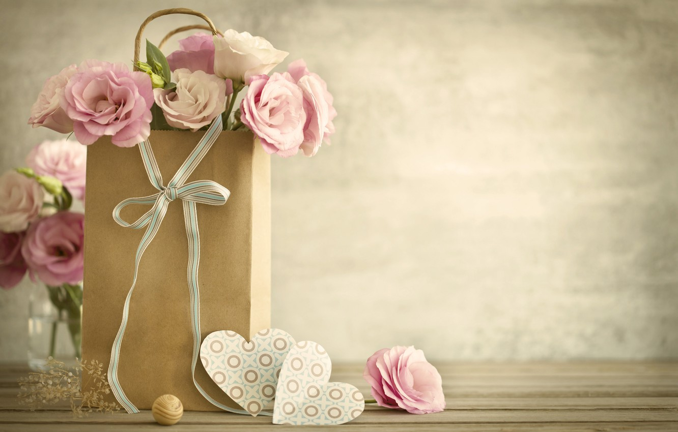 Photo wallpaper love, flowers, holiday, hearts, Valentine's day, eustoma