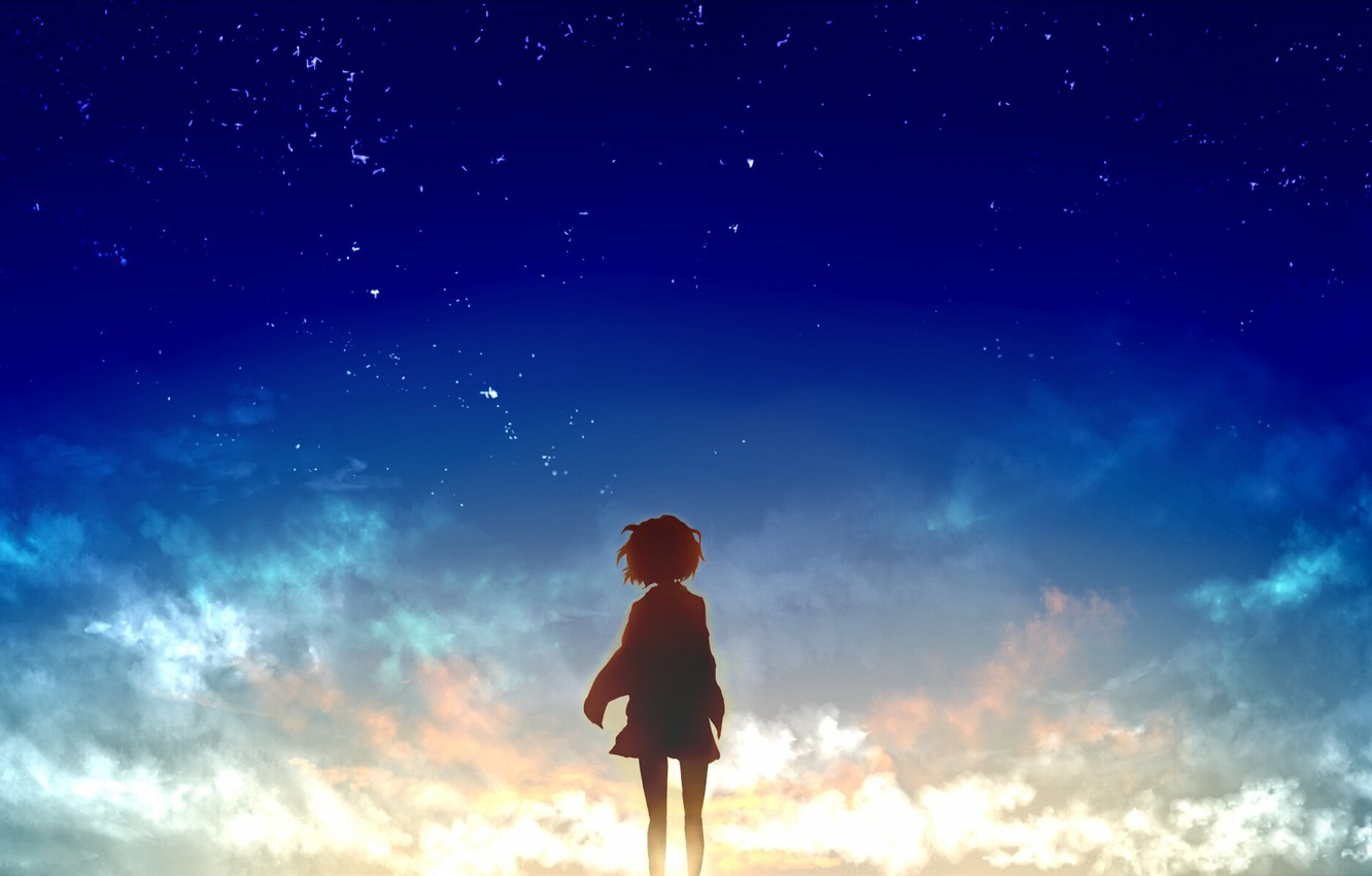 Wallpaper The Sky Girl The Sun Stars Clouds Sunset Anime