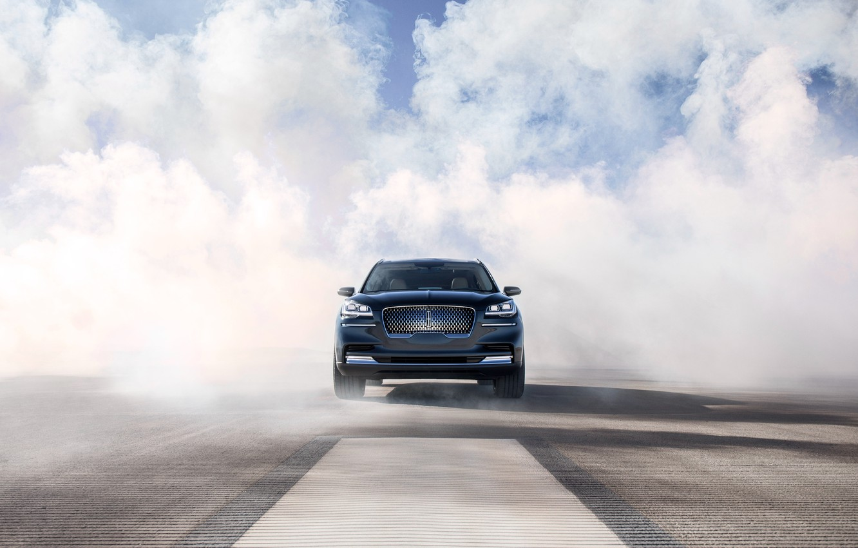 Photo wallpaper Lincoln, smoke, front view, Aviator, 2019