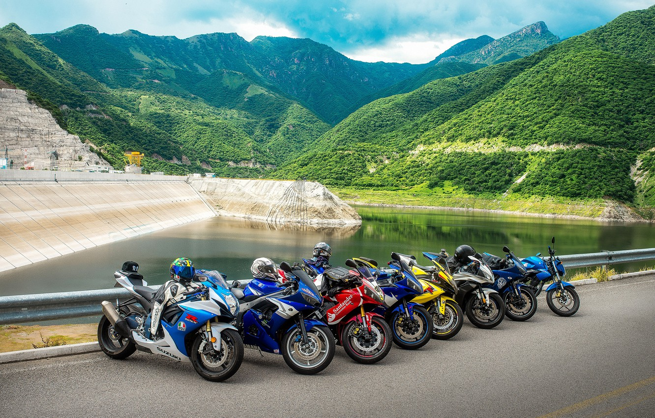 Photo wallpaper road, mountains, nature, motorcycles, pond, stories