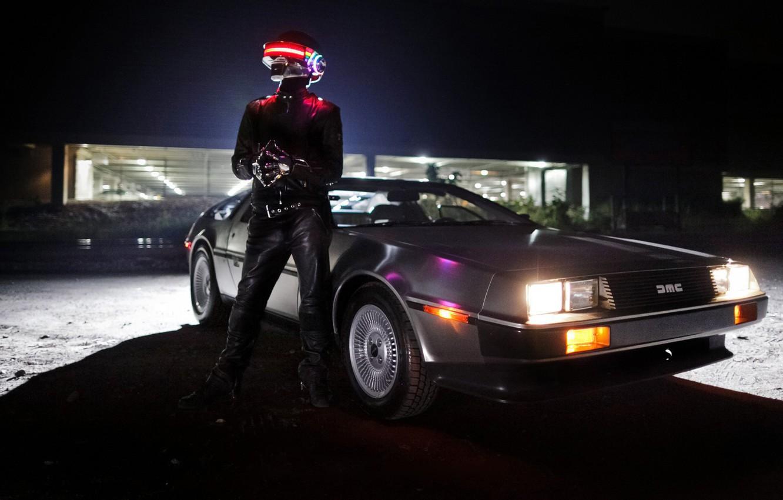 Photo wallpaper Music, DeLorean DMC-12, Daft Punk, Thomas Bangalter, DeLorean, Daft Punk, Tom