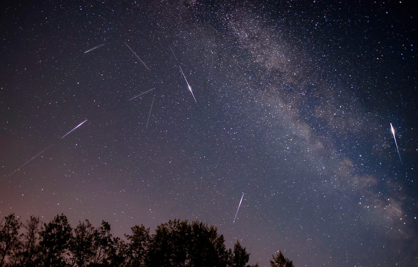 Photo wallpaper space, stars, drop, the Perseids
